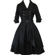 Amazon.com: Chicstar Plus Size Gothic Lolita Black Belted Military Swing Dress - 24W: Clothing
