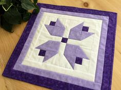 "Pretty quilted table topper with purple tulips 15"" square Free Shipping #tabletopper #tablemat"