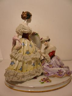 Vintage Volkstedter German Dresden Lace Figurine Maiden w Lady in Waiting | eBay