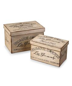 Chocolaterie Boxes: With a whimsical, authentic feel, the Chocolaterie Boxes elevate treasures, hide necessities, and serve as home adornments in their own right. The attractive script and typography, painted in slightly chipped black to fill the distressed ivory faces of this sturdy fir box, are distinctly vintage but not too overdone to look personal in your kitchen or on your bookshelf.