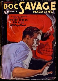 WALTER MARTIN BAUMHOFER - art for The Red Skull - Aug 1933 Doc Savage Magazine