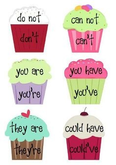 Students can use this activity as an opportunity to learn what exactly contractions are. Art is used through choosing colors (warm/cool) to make their cupcake and designing it as they choose. Along with art students learn la Teaching Language Arts, Teaching English, Teaching Grammar, English Language Arts, German Language, Japanese Language, Teaching Spanish, Spanish Language, French Language