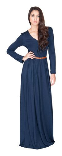 Womens Navy Blue VNeck Long Sleeve Cocktail Evening Maxi Dress XS s M L | eBay $34.85