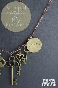 DIY Stamped Pendant & Key Charm Necklace, Easy DIY Jewelry. HandmdaeintheHeartland.com