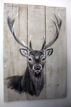 Hert op steigerhout Bekijk en like ''By AN schilderingen'' op facebook voor meer.