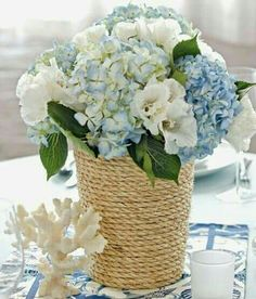 100 diy wedding centerpieces on a budget. [tps header]create the wedding of your dreams and save time and money with these diy centerpieces, including submerged flowers, succulent gardens, faux cotton. Beach Cottage Style, Beach House Decor, Coastal Style, Coastal Decor, Nautical Style, Nautical Rope, Coastal Colors, Beach Houses, Coastal Cottage