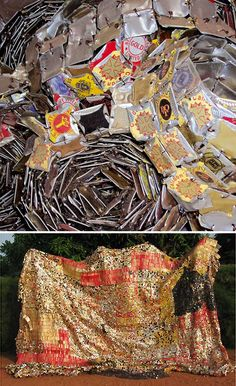 Nigerian sculptor El Anatsui - beautiful artwork made from bottle caps…