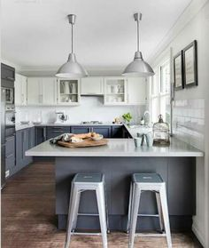 7 Experienced Hacks: Small Kitchen Remodel With Bar kitchen remodel butcher block spaces.Small Kitchen Remodel With Bar kitchen remodel rustic shabby chic.Small Kitchen Remodel With Bar. Blue Gray Kitchen Cabinets, Gray And White Kitchen, Kitchen Cabinet Colors, Painting Kitchen Cabinets, Kitchen Grey, White Cabinets, Wood Cabinets, Kitchen Colors, Grey Cupboards