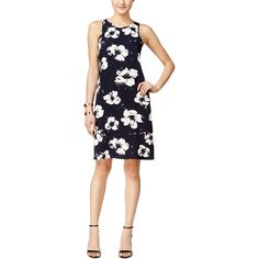 Alfani Womens Floral Print Sleeves Casual Dress