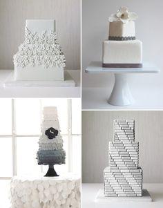 grey wedding cakes via SomethingTurquosie.com (ha);my favorite is the ombré w/charcoal poppy