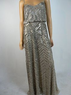 00335735f6f  340 Adrianna Papell Beige Taupe Chevron Sequin Beaded Blouson Gown 8 NEW  A932  AdriannaPapell  Gownfalsern  Formal