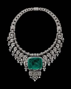 A Cartier diamond and emerald necklace dating from 1932, as worn by the Countess of Granardon show at Cartier's Brilliant exhibition in Denver. Photo: Vincent Wulveryck, Cartier Collection © Cartier