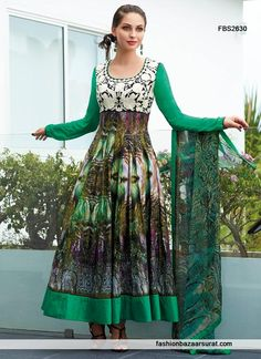 Gorgeous Green Awesome Anarkali Cotton Suit