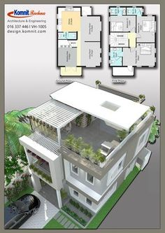 Discover thousands of images about VH 1005 Komnit Rachna Houses - Komnit Design House Layout Plans, Duplex House Plans, Bedroom House Plans, Dream House Plans, House Layouts, House Floor Plans, Dream Houses, Luxury Houses, 3 Storey House Design