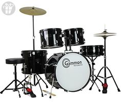 Gammon Percussion Full Size Complete Adult 5 Piece Drum Set with Cymbals Stands Stool and Sticks, Black (*Amazon Partner-Link)