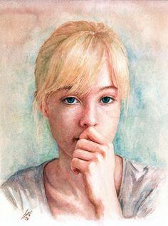 Portrait painted by Ali Naseri size: Watercolour Painting, Ali, Mona Lisa, Portrait, Artwork, Instagram, Work Of Art, Headshot Photography, Auguste Rodin Artwork