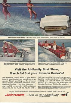 Johnson Outboard Motor Boat Show Original 1964 by VintageAdOrama, $9.99