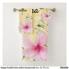 Shop Happy bumble bees yellow honeycomb sweet monogram bath towel set created by Thunes. Bath Towel Sets, Bath Towels, Yellow Towels, Honeycomb Pattern, Bee Happy, Washing Clothes, Bumble Bees, Pink And Green, Bathrooms