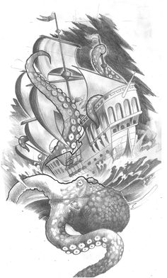 ship on top of hip, octopus going up from top thigh, anchor down on thigh with hebrews 6:19 verse. pink and orange octopus, light blue water, brown ship, white sails, dark grey sky and anchor