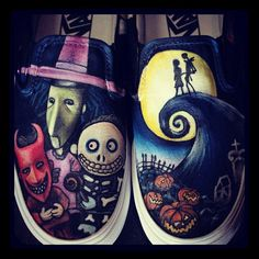 The Nightmare Before Christmas Vans by LittleMissApril on Etsy, $120.00
