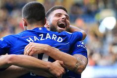 LONDON, ENGLAND - SEPTEMBER Olivier Giroud celebrates with Eden Hazard of Chelsea during the Premier League match between Chelsea FC and Cardiff City at Stamford Bridge on September 2018 in London, United Kingdom. (Photo by Marc Atkins/Getty Images) Chelsea Team, Chelsea Liverpool, Chelsea Football, Football Boys, Le Figaro, Cardiff City, Soccer News, Stamford Bridge, Fernando Torres