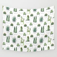 watercolour cacti and succulent Wall Tapestry