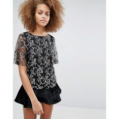 Selected Brina Lace Top (£49) ❤ liked on Polyvore featuring tops, black, embroidered top, lacy tops, lace top, embroidered lace top and select top