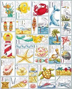 Tobin Ocean ABC Counted Cross Stitch Kit, 16 inch x 20 inch, 14 Count, Multicolor Cross Stitch Sea, Beaded Cross Stitch, Cross Stitch Alphabet, Counted Cross Stitch Kits, Cross Stitch Embroidery, Embroidery Patterns, Cross Stitching, Hardanger Embroidery, Cross Stitch Designs