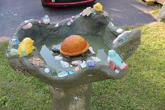 turtle centered birdbath, mixed media, 2014, by Alexandra Higgins
