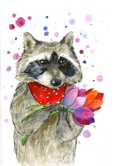Raccoon in love. Flowers for his sweetie.