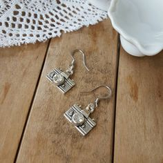 Silver camera earrings sterling silver french hook dangle earrings .925 sterling silver french hook gift for photographer (12.95 USD) by LuxedesignsbySarah
