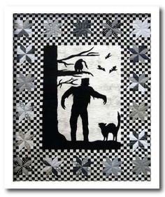 """""""Creature Features"""" quilt pattern by Joe Wood at Thimble Creek.  He used all blacks and greys to pay tribute to the early horror films like Frankenstein."""
