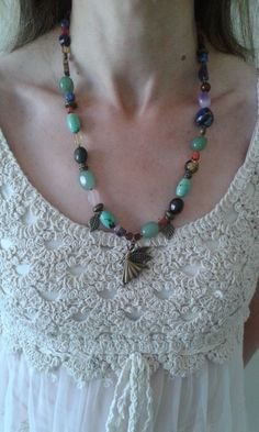 "Multi crystal necklace with dark gold colour ""dancing fairy"" by Crystal Hart"