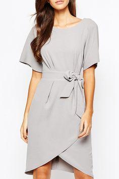 Closet Tie Front Dress With Kimono Sleeve LIGHT GRAY: Summer Dresses   ZAFUL