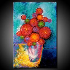 ORIGINAL Flowers on Vase Painting Textured por FariasFineArt