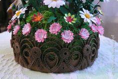 Мастер-класс Квиллинг Основание для цветочной клумбочки Бумажные полосы Картон фото 1