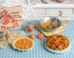 Miniature Making Peach Pie Set by CuteinMiniature on Etsy