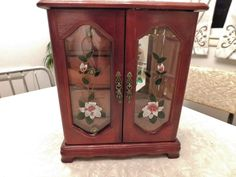 Vintage Cherry Wood Jewelry Box with Glass Doors and Drawers by RadiogirlCarolyn on Etsy