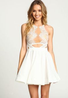 WHITE MIRRORED LACE FLARE DRESS