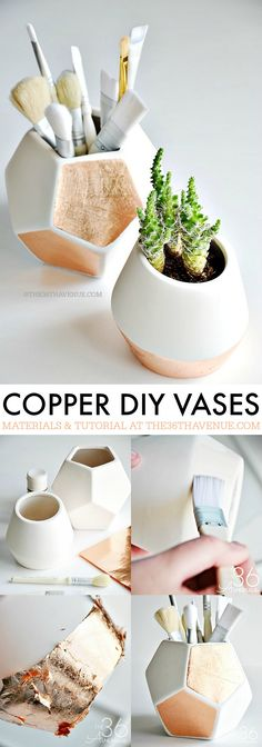 DIY Copper Vases - These DIY Copper Gold Leaf Storage Vases are adorable and super easy to make! PIN IT NOW and make them later! Diy Craft Projects, Diy And Crafts, Craft Ideas, Gold Diy, Dollar Store Crafts, Dollar Stores, Vase, Deco Design, Home And Deco