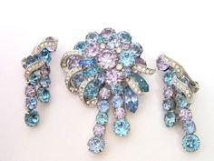 EISENBERG Set Vintage Earrings & Pin Brooch Silver Blue Paste Rhinestone costume  tdmco
