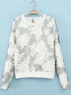 White Long Sleeve Floral Loose Sweatshirt EUR€22.31