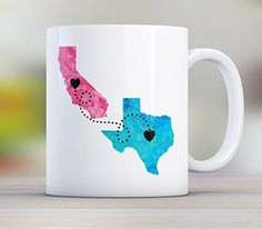 Mom, Personalized Long Distance State Coffee Mug Gift with quote, All States, Countries and Provinces, 11oz or 15oz