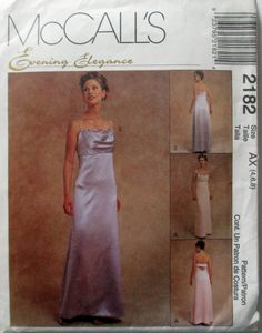McCalls 2182 Womens Evening Elegance Lined Gown by Denisecraft