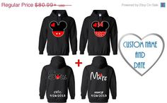 Custom Name and Date. Personalized Couple Hoodies. Cartoon Heads with Soul Mate. Couple hoodie sweatshirts.Available as Hes Mine Shes Mine