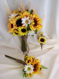 Bridal Bouquet Sunflower Wedding Flower Package 9 by AmoreBride