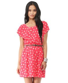 Ditsy Bow Dress w/ Belt from Forever21.com
