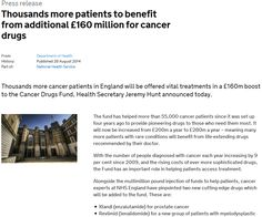 The press release about the Cancer Drugs Fund was viewed 878 times on GOV.UK between 28 August - 2 September 2014.