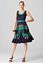 Milly...Chrystine Sunburst Dress...Jade...Princess seams with removable belt at true waist. Sunburst pleat skirt with ruffled hem. Hidden zipper at center back. Knee length. 100% cotton.