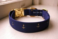Handmade Dog Collar - Limited Edition Navy & Gold Anchors Dog Collar w/ Metal Adjustable Buckle - Fabric Dog Accessories from Kira's Pet Shop. Cute Dog Collars, Girl Dog Collars, Diy Dog Collar, Handmade Dog Collars, Dog Belt, Positive Dog Training, Girl And Dog, Dog Hacks, Navy Gold